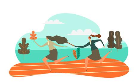 Hübsche Frauen, die Staffelstab an ihre Kollegin im Staffellauf übergeben, Vektor-Illustration Teamwork-Konzept