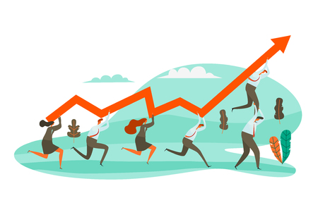Businessman holding the red arrow, Vector Illustration. Business growth with teamwork