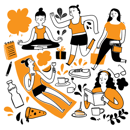 The daily use In the heat of summer. Collection of hand drawn, Vector illustration in sketch doodle style 일러스트