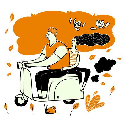 Das Paar, das Roller fährt. Sammlung von Hand gezeichnet, Vektorillustration im Skizzengekritzelstil.