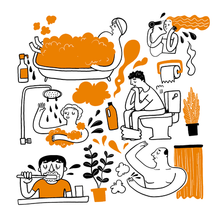 A personal errand in the bathroom. Collection of hand drawn Vector illustration in sketch doodle style. Ilustração