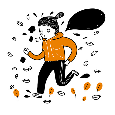 Pretty girl running exercise in the cold weather in winter. Collection of hand drawn, Vector illustration in sketch doodle style.