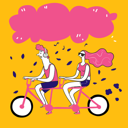 Collection of hand drawn couple take bike. Vector illustrations in sketch doodle style.