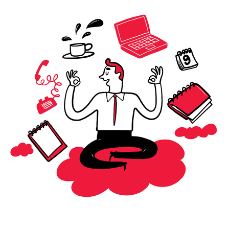 Collection of hand drawn people office life. Vector illustrations in sketch doodle style. 일러스트