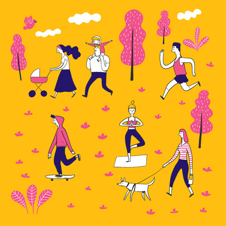 Collection of hand drawn couple in the park. Vector illustrations in sketch doodle style. 向量圖像