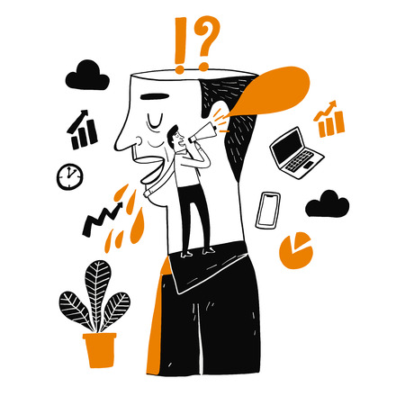 Man holding megaphone, metaphor or symbol of growth overcoming adversity in strategy and finding leadership solutions corporate of success. Vector Illustration doodle style