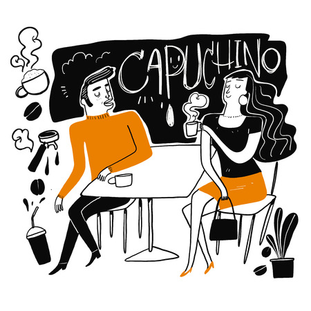 Couples drink coffee. Moments of relaxation or rest from heavy work. The appearance and lifestyle. Collection of hand drawn. Vector illustration in sketch doodle style,Painting strokes, semi-abstract 일러스트