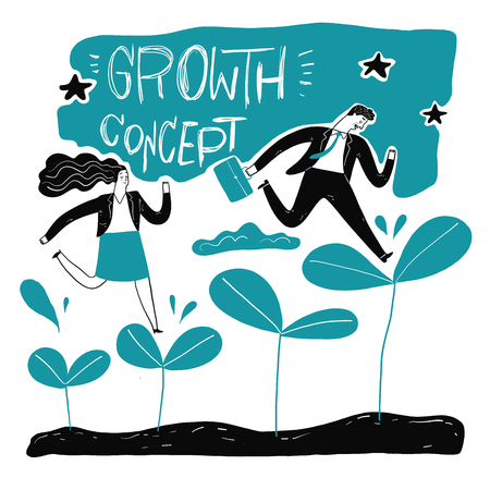 Businessman step up the leaf, metaphor or symbol of growth overcoming adversity in strategy and finding leadership solutions corporate of success. Vector Illustration doodle style 일러스트