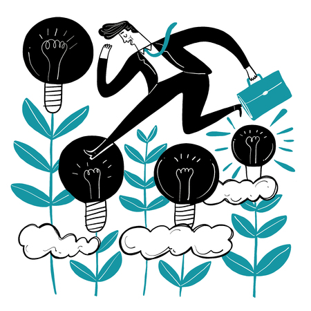Business people who are creative. Running across the lamp metaphor of creativity. Vector illustrations in sketch doodle style.