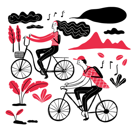 Couple cycling in the park, Collection of hand drawn. Vector illustration in sketch doodle style. 일러스트