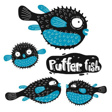 Set of puffer fish silhouette. Hand drawn vector illustration. Outline with transparent background.