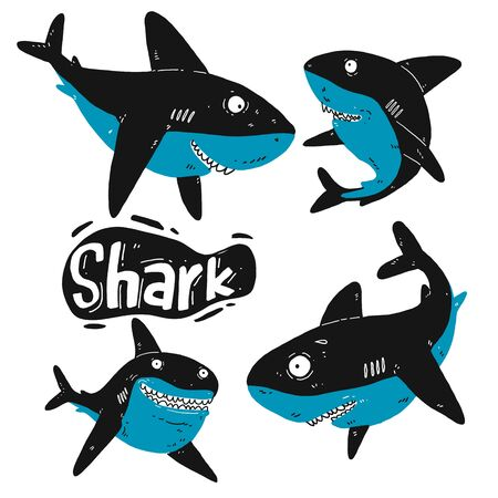 Set of shark silhouette. Hand drawn vector illustration. Outline with transparent background.  Ilustração