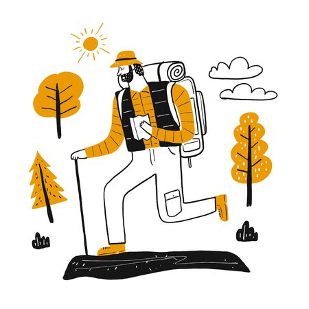 The drawing character male tourists in mountain climbing set, Vector illustration in sketch doodle style.