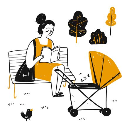 The drawing character a novice mother is reading on the park bench. There is a baby carriage nearby, Vector illustration in sketch doodle style. Ilustrace
