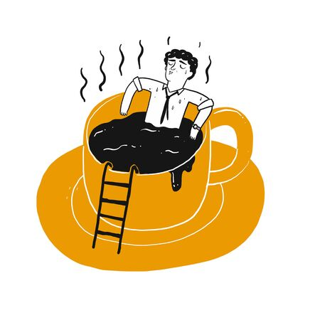The drawing character a man in cup of coffee. Vector illustration in sketch doodle style.