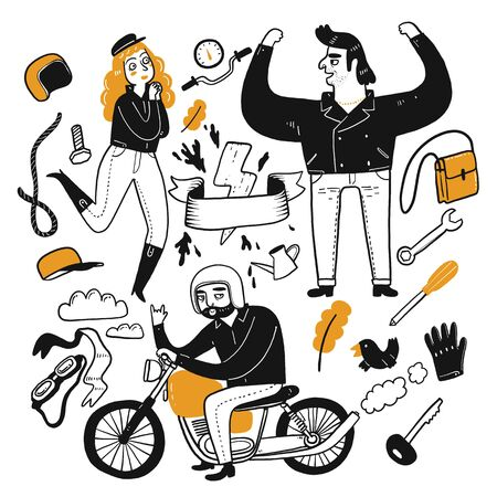 The drawing character of people are biker. Collection of hand drawn. Vector illustration in sketch doodle style.