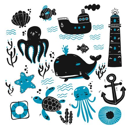 Set of sea creatures and marine sketches. Hand drawn vector illustration. Outline with transparent background