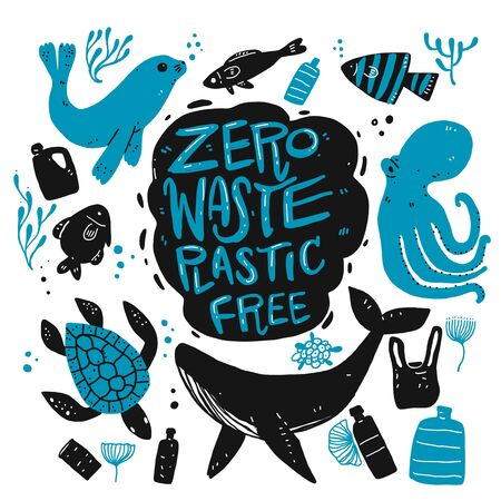 Zero waste Plastic free, hand drawing silhouette doodle style. Çizim