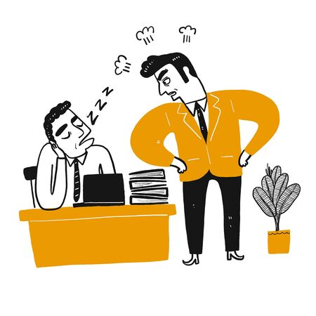 The angry boss look sleeping employee. Hand drawn doodle style vector design illustrations.