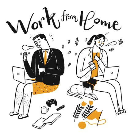 People are working hobbies together, Work from home concept, Hand drawn, Vector Illustration doodle style.