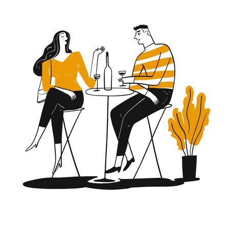 Couple drinking and talk happy. Hand drawn, Vector Illustration doodle style.