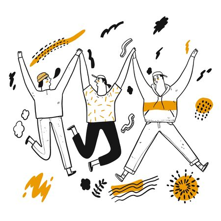 The besties join hands happily and flower element on white background, Hand drawing Vector Illustration doodle line art style.