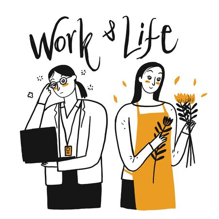 People are working. Comparison between working in the office and living freely, Hand drawn, Vector Illustration doodle style.