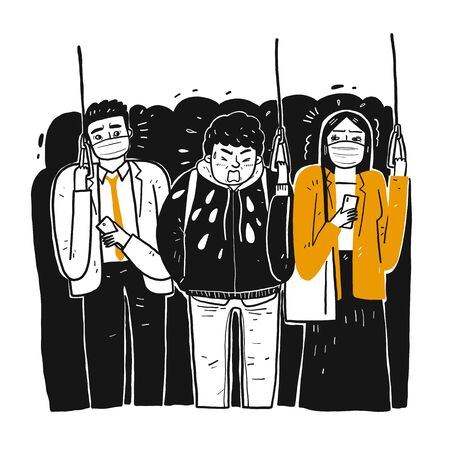 A sick man on the train is sneezing people around pretend to be disgusted. The prevention of contagious diseases. Hand drawn, Vector Illustration doodle style. Ilustración de vector