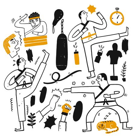 Activities of people who are playing various sports, Hand drawn vector Illustration doodle line art style.