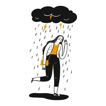 The woman is sad, Hand drawn Vector Illustration in sketch doodle style. Illustration