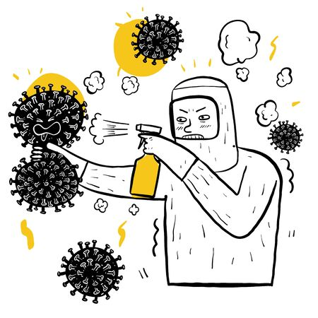 Information about coronavirus element on white background, Hand drawing Vector Illustration doodle line art style.