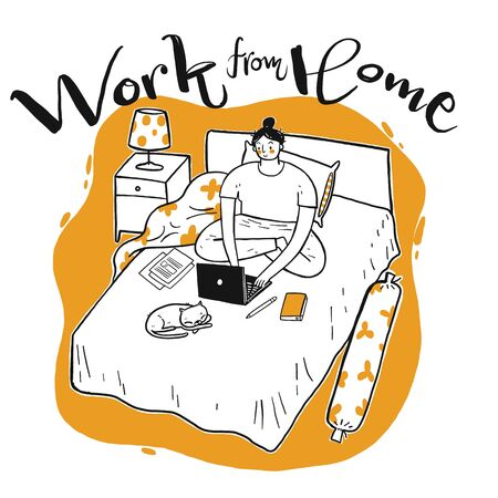 Young woman who working on the bed with her laptop, Work from home concept, Hand drawn, Vector Illustration doodle style.