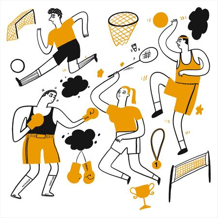 Activities of people who are playing various sports,  Vector Illustration doodle line art style.