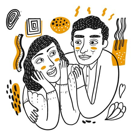 Couple be happy, Pop Art element on white background, Hand drawing  Vector Illustration doodle line art style.