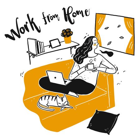 The young pretty working from home. The element hand drawn, Vector Illustration doodle style. Vectores