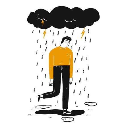 The man is sad, Hand drawn Vector Illustration in sketch doodle style.