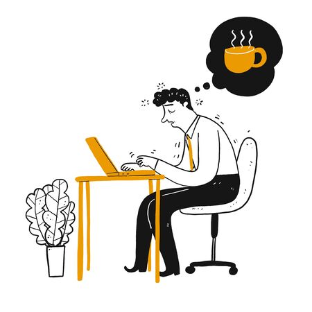 Businessman or employee be sleepy or dizzy at work desk in office thinking to cup of coffee. Hand drawing line art doodle style isolated on white background  イラスト・ベクター素材