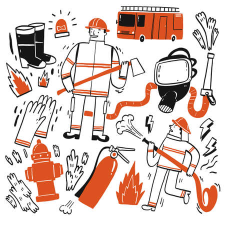 The element hand drawn of Fire fighting, Vector Illustration doodle style. 向量圖像