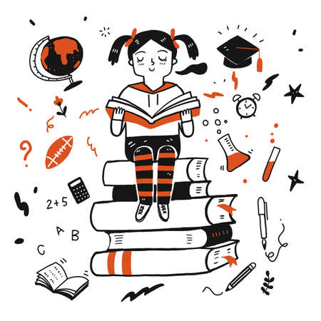 Young student girl reading a book Vectores