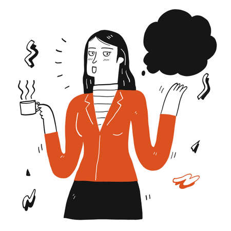Pretty woman holding cup of coffee and talking, Hand drawing Vector Illustration doodle style.
