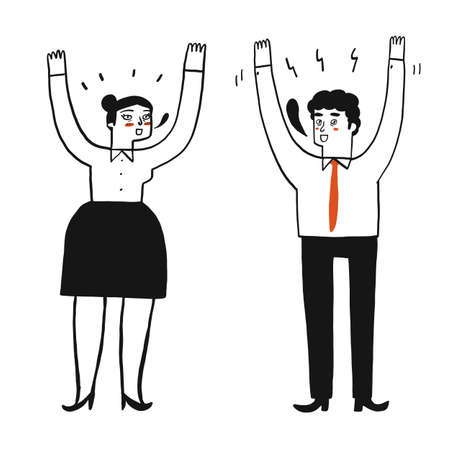 People are raising their hands on both sides. Hand drawing Vector Illustration doodle style.