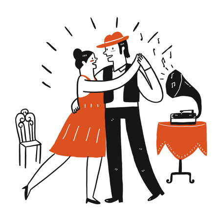Lovers are dancing happily, Hand draw doodle style, Vector Illustration