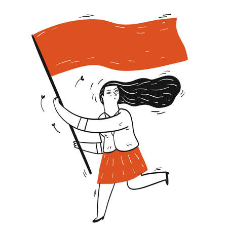 Collection of hand drawn a girl running while holding flag.Vector illustrations in sketch doodle style. 向量圖像