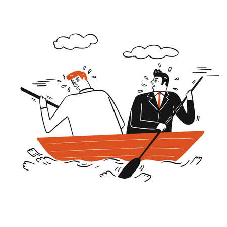 Collection of hand drawn two business man paddling on a small wooden boat.Vector illustrations in sketch doodle style. 向量圖像