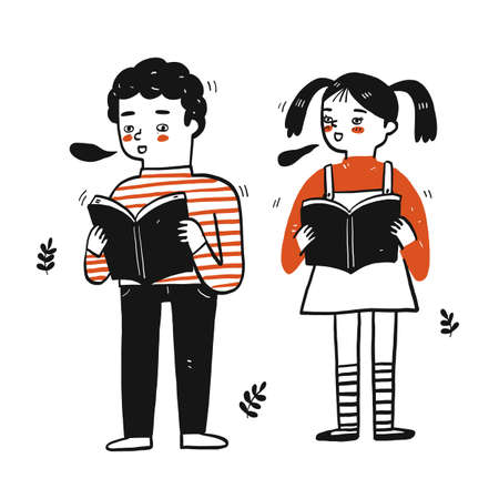 Young students boy and girl holding book Vectores