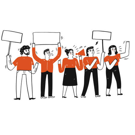 Collection of hand drawn a group of people doing protest.Vector illustrations in sketch doodle style.