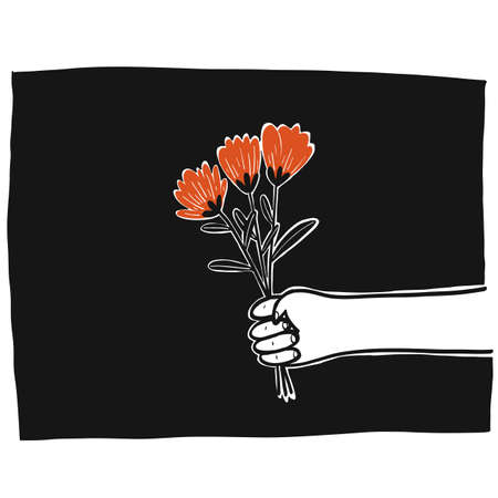 Collection of hand drawn right arm holding flowers with the black background.