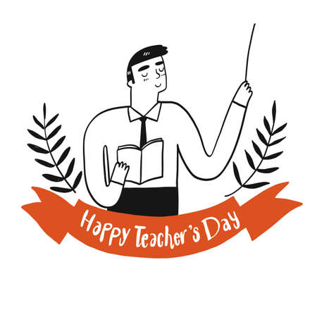 Collection of hand drawn a women teacher holding a book with the happy teacher's day sign.