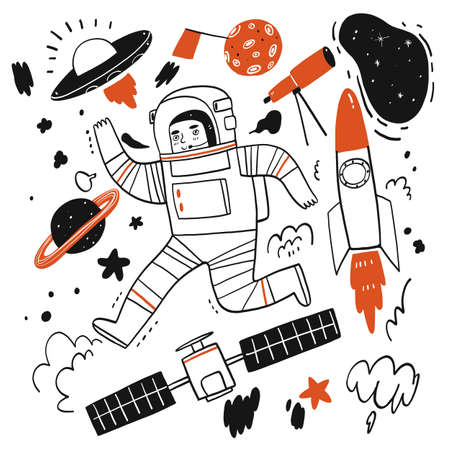 Hand drawn elements of stories about space or astronaut, Vector Illustration