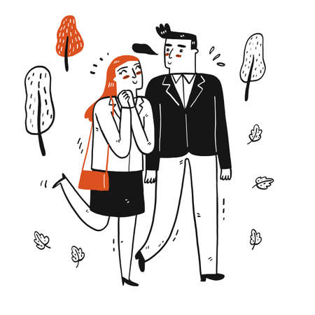 Hand drawn elements happy couple walking in the park, Vector Illustration 向量圖像